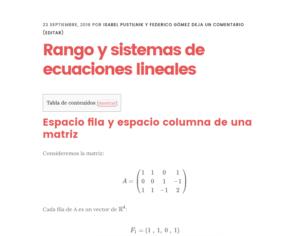 Rango y sistema de ecuaciones lineales