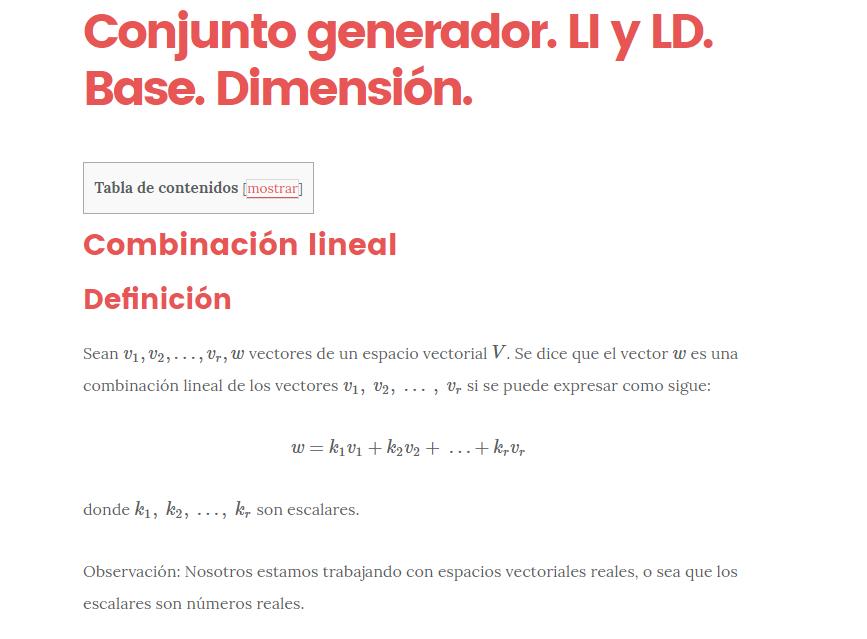 Vectores linealmente independientes: base y dimensión ...