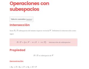operaciones con subespacios