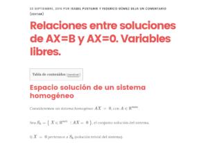 relaciones entre soluciones de ax=b y ax=0