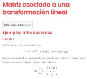 Matriz asociada a una transformacion lineal