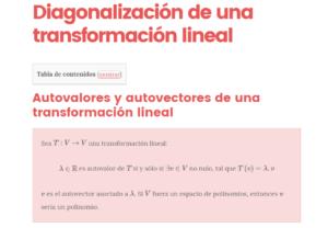 diagonalización de una transformación lineal