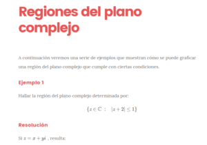 regiones del plano complejo
