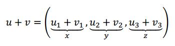 suma de vectores u y v en una transformacion lineal